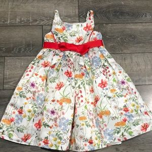 Monsoon Floral Exposed Zipper Bow Tie Dress Size 4